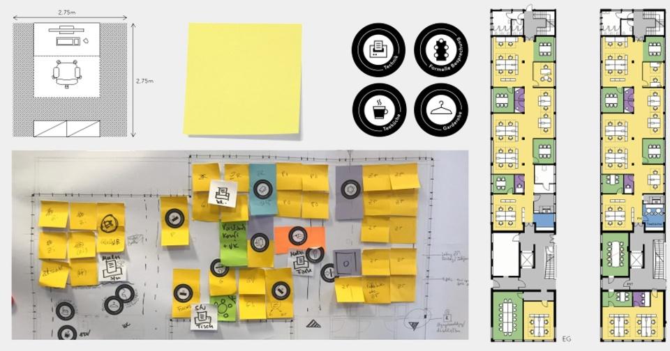 Beispiele für verschiedene Arbeitsschritte der Büro-Flächenplanung