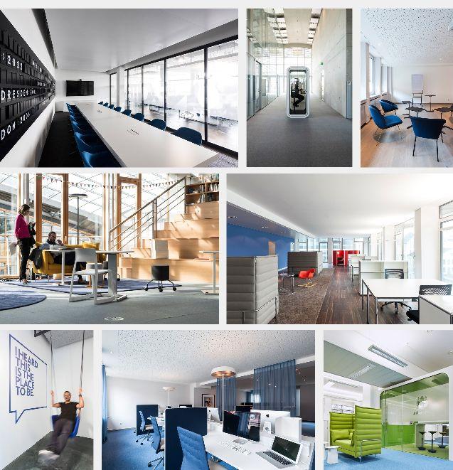 Übersicht verschiedener Raumtypen im Multispace Bürokonzept