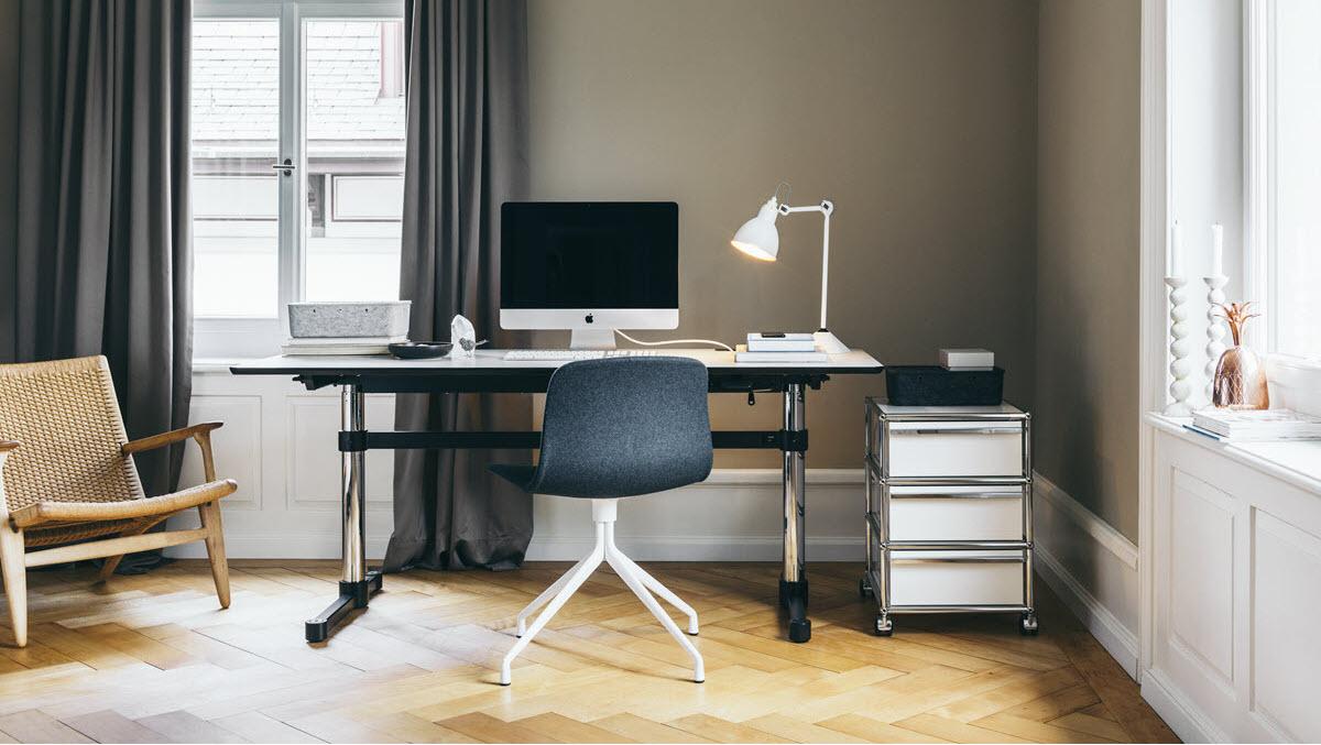 Vitra Möbel und USM Büromöbel im Home Office.